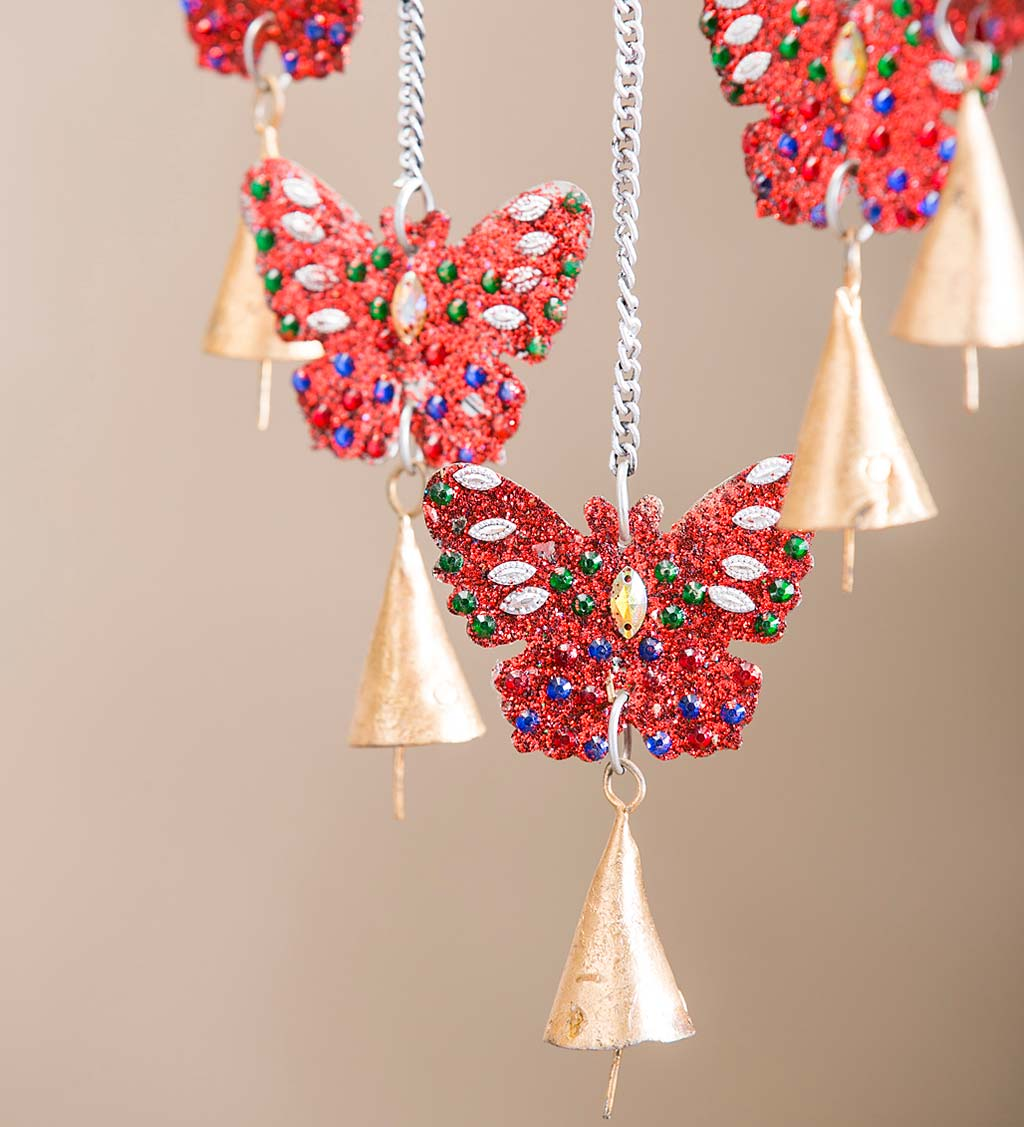 Beaded Metal Pollinator Wind Chime - Dragonfly