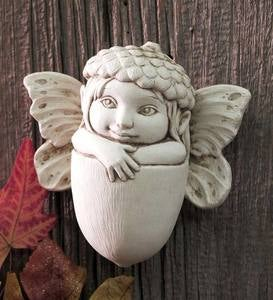 Acorn Fairy Cast Stone Plaque from Carruth Studio