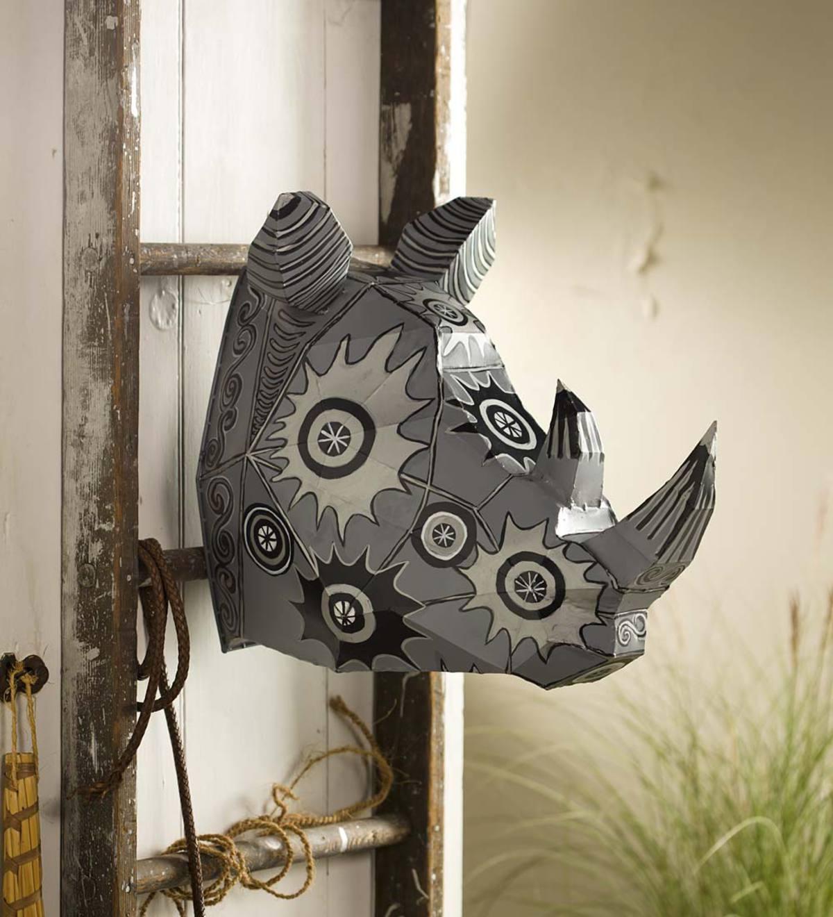 Metal Rhino Head Wall Art Wind And