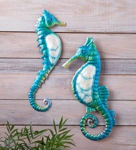 Metal Seahorse Wall Art with Capiz Accents, Set of 2