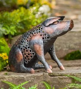 Reclaimed Metal and Repurposed Washer Pig Sculpture