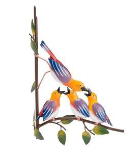 Colorful Mom and Baby Birds Metal Tree Hanger