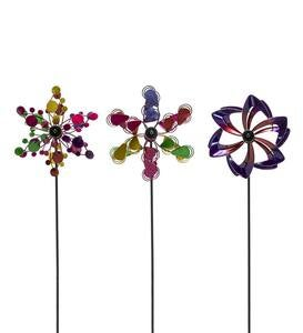 Pinwheel Mini Wind Spinners with Garden Stake, Set of 3 - Copper-Colored - Copper