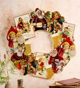 Wooden Vintage Card Wreath