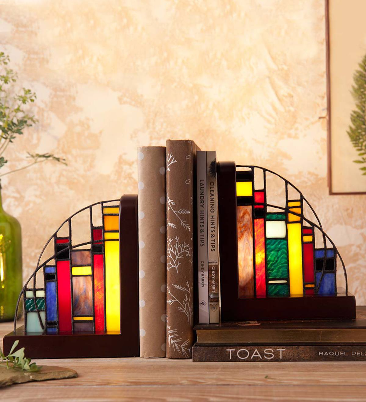 Lighted Stained Glass Bookends