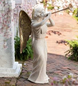 Large Holiday Angel with Trumpet Statue