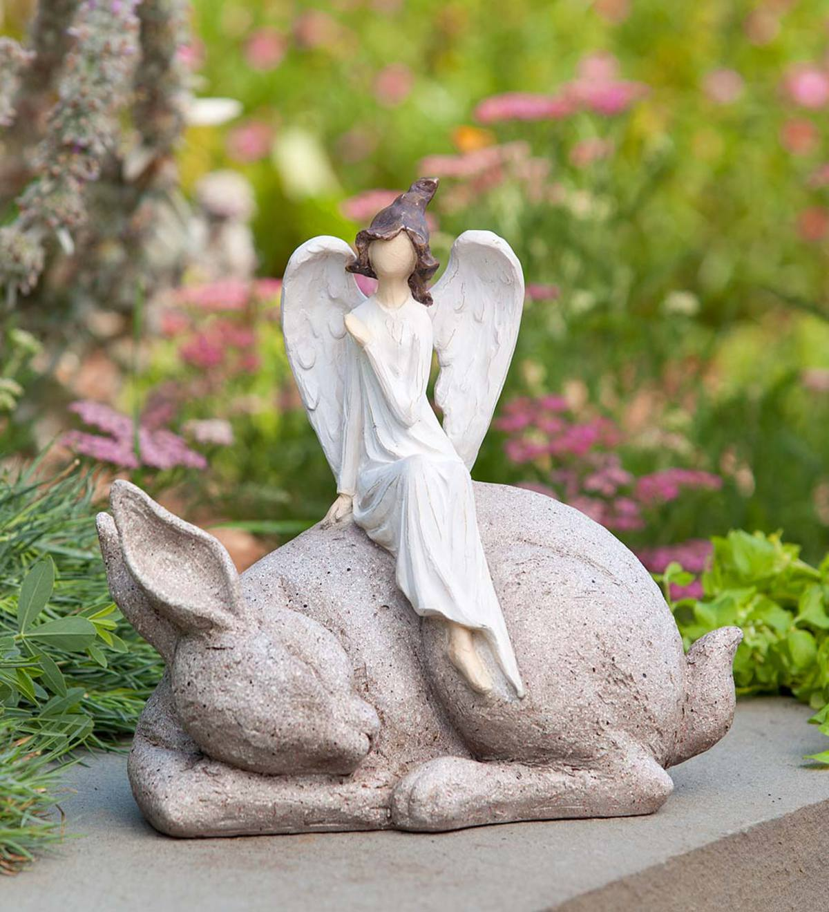 Angel Sitting on Sleeping Bunny Indoor/Outdoor Sculpture