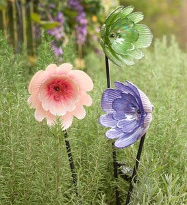 Solar Glass Flower Garden Stake - Purple