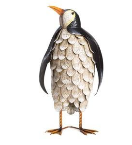 Metal Feathered Penguin Statue