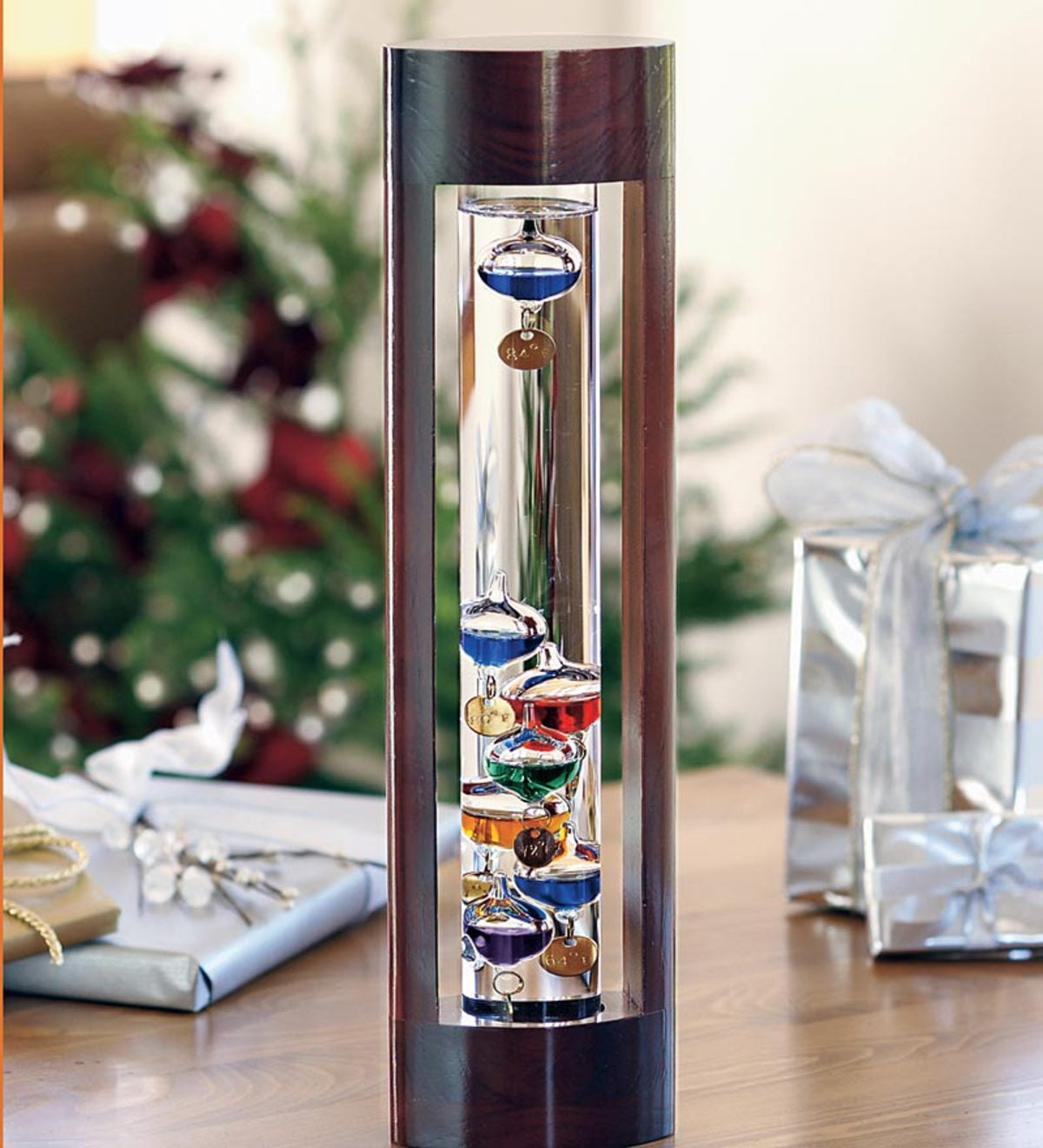 Galileo Thermometer with Beautiful Cherry Finish Wood Frame