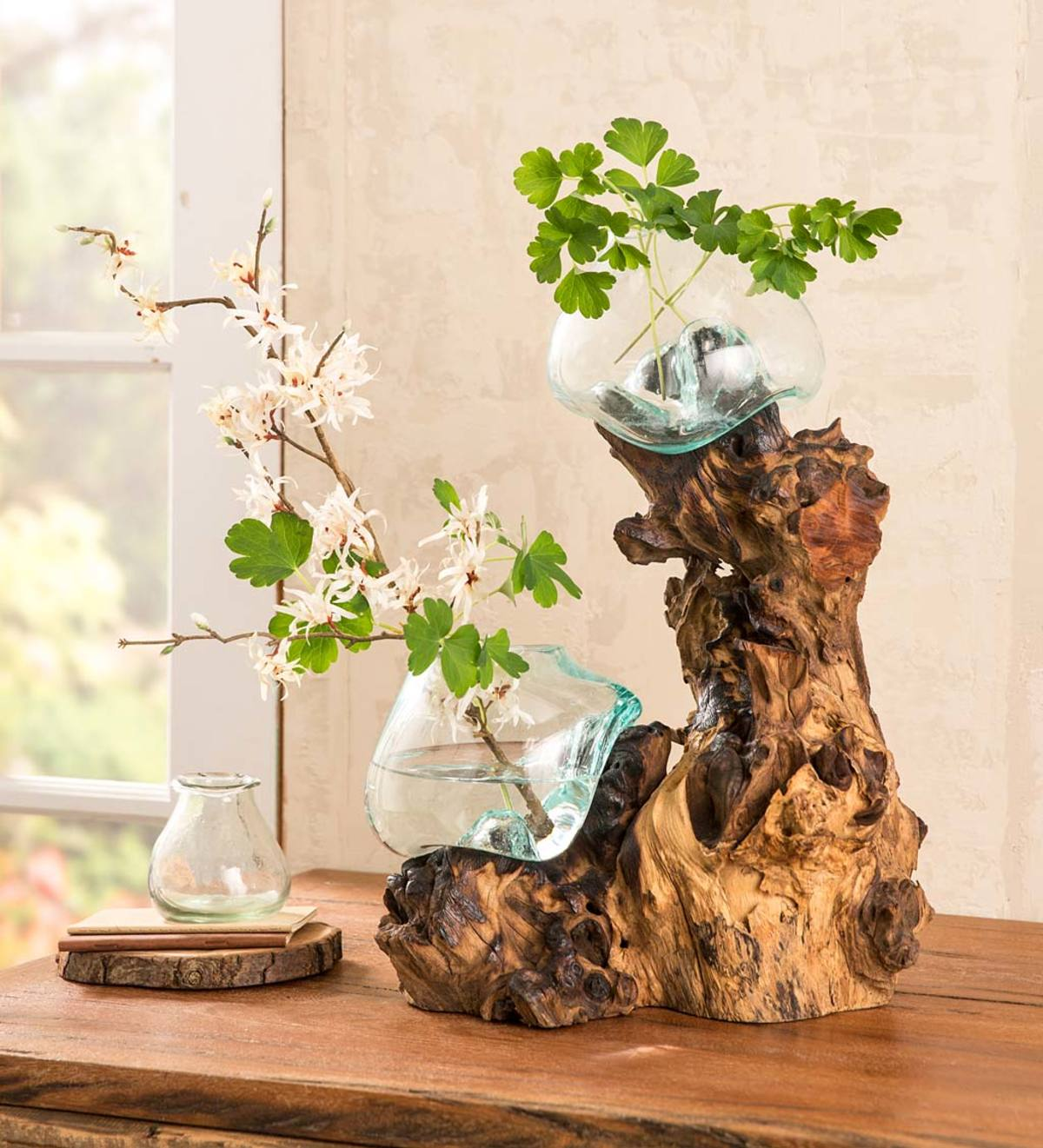 Dual Glass Bowls and Driftwood Sculpture