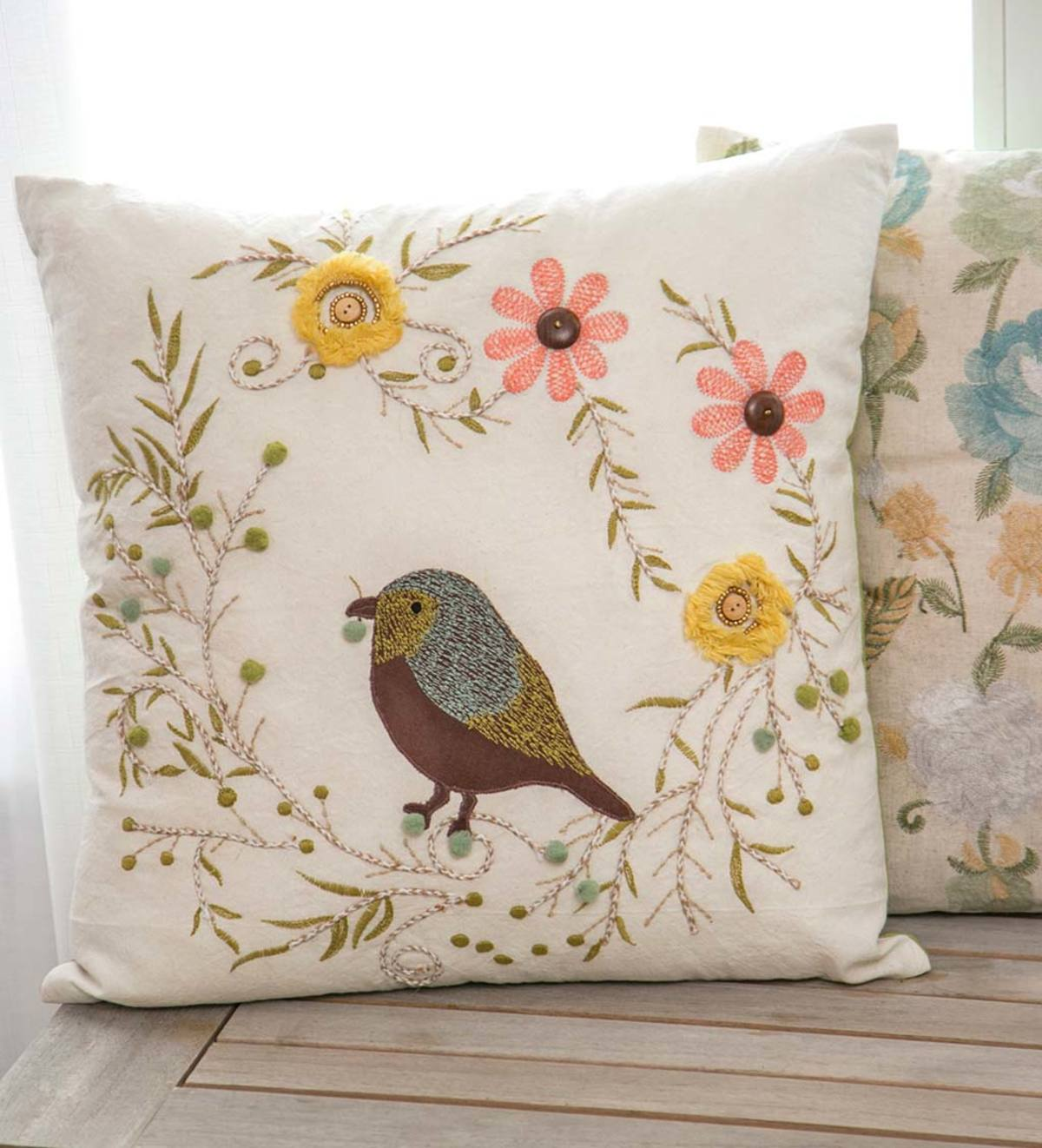 Embroidered Bird And Flowers Throw Pillow Wind And Weather