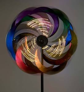 Multi-Colored Spiral Wind Spinner with Solar-Lighted Metal Mesh