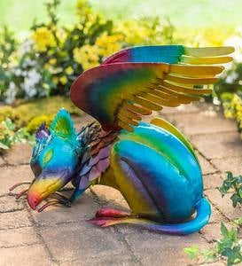 Handcrafted Colorful Metal Griffin Sculpture