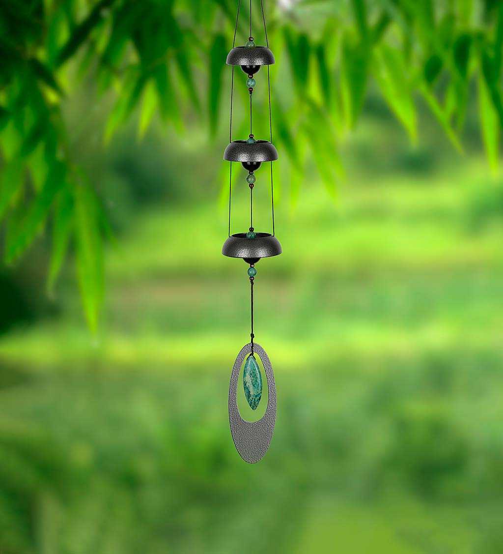 Three-Tone Temple Bells Wind Chime with Stone Accents