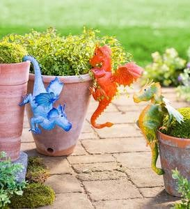 Handcrafted Metal Baby Dragon Pot Hangers, Set of 3