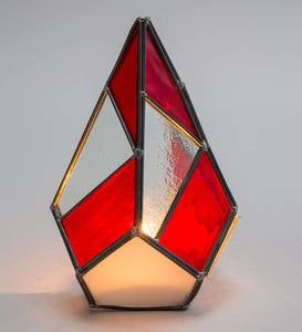 Red Stained Glass Modern Christmas Tree Candle Holder