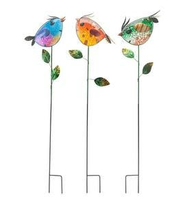 Colorful Metal and Glass Bird Garden Stakes, Set of 3