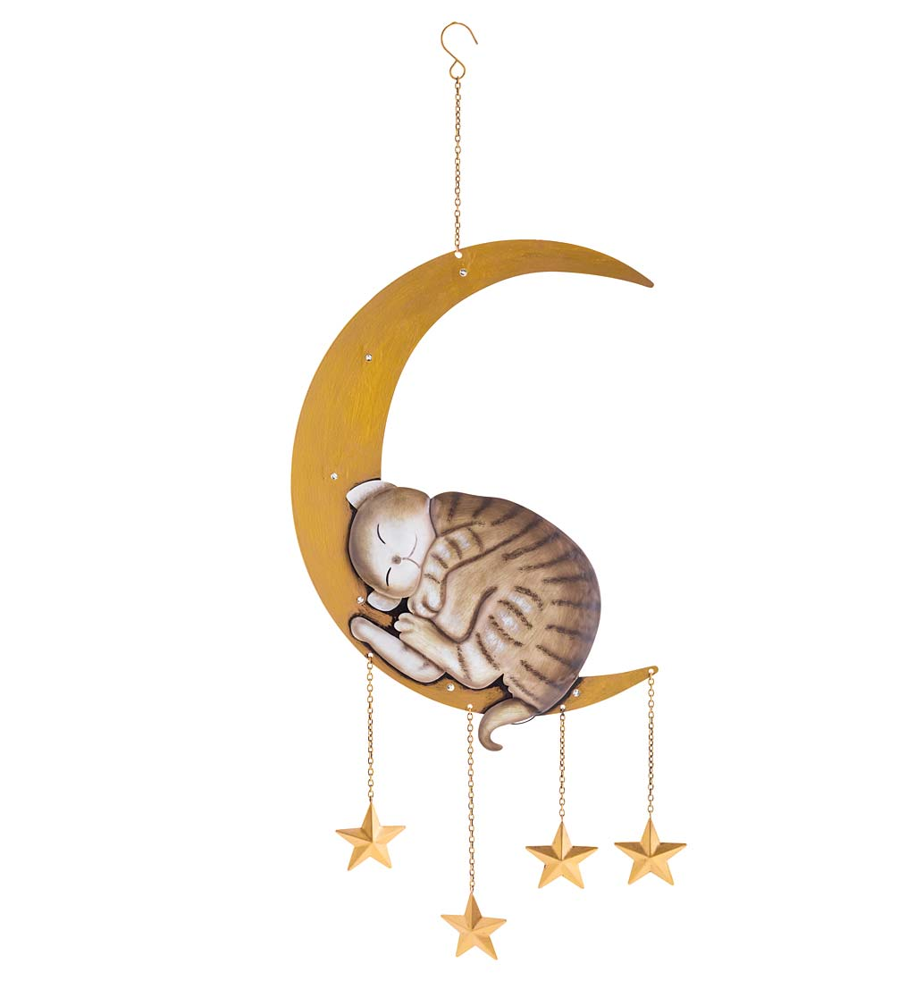 Lighted Hanging Metal Moon with Animals Indoor/Outdoor Decoration