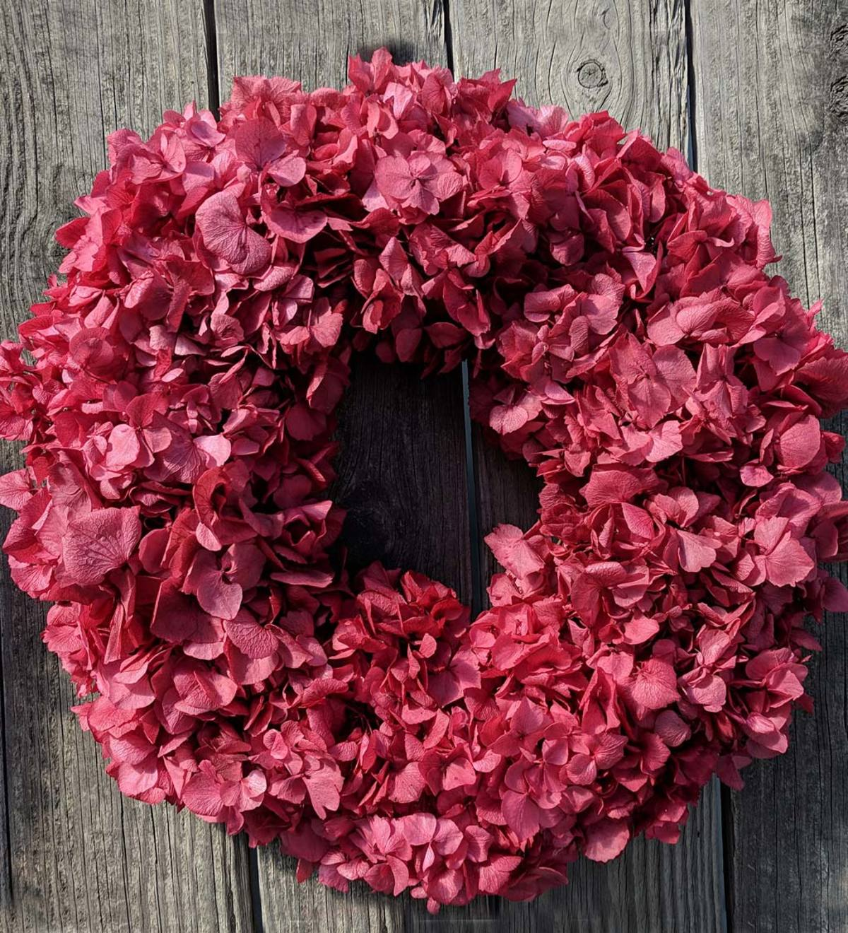 Red Preserved Hydrangea Wreath