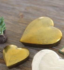 Aluminum Heart Boxes, Set of 2 - Gold
