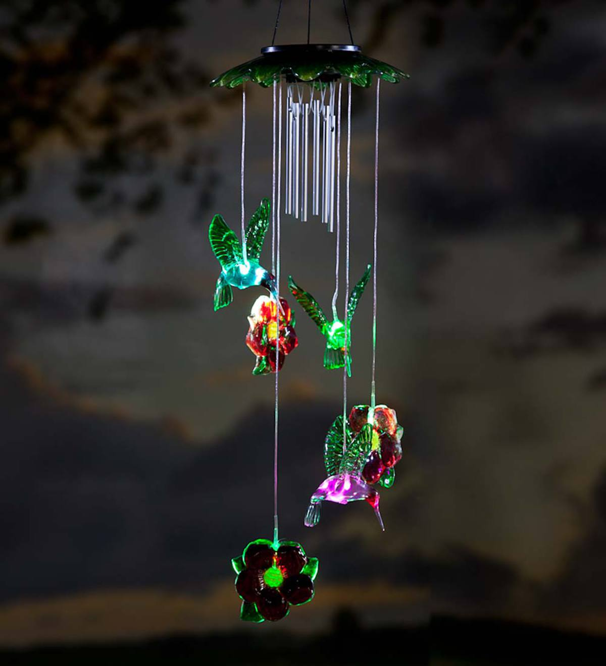 Solar Lighted Wind Chime Mobile Dragonfly Wind And Weather