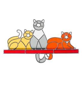 Colorful Stained Glass Cats Shelf Sitter