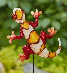 Colorful Handcrafted Metal Gecko Garden Stake