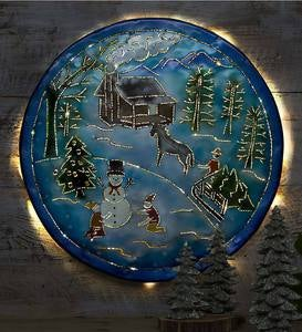 Winter Scene Lighted Metal Wall Art