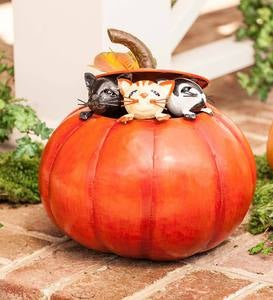 Metal Kittens in a Pumpkin Sculpture
