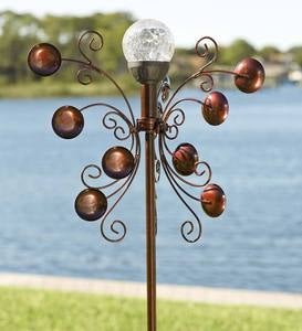 Ornate Bronze-Colored Metal Wind Spinner with Solar Color-Changing Crackle-Glass Orb