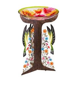 Glass Poppies Birdbath with Metal Hummingbird Stand