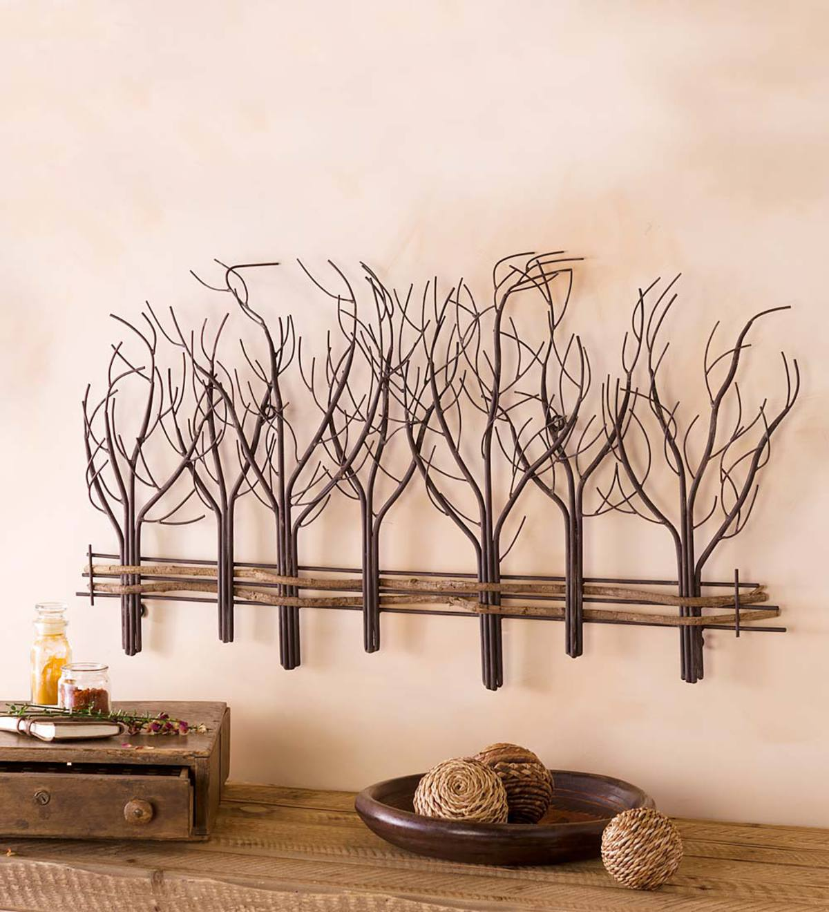 Metal and Natural Vine Winter Tree Wall Art