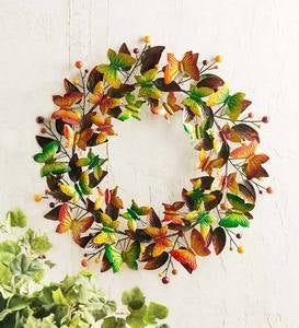 Handcrafted Autumn Metal Butterfly Wreath