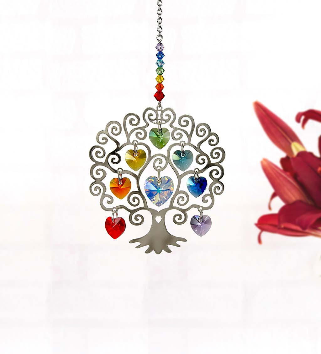 Metal Tree of Life with Colorful Crystals