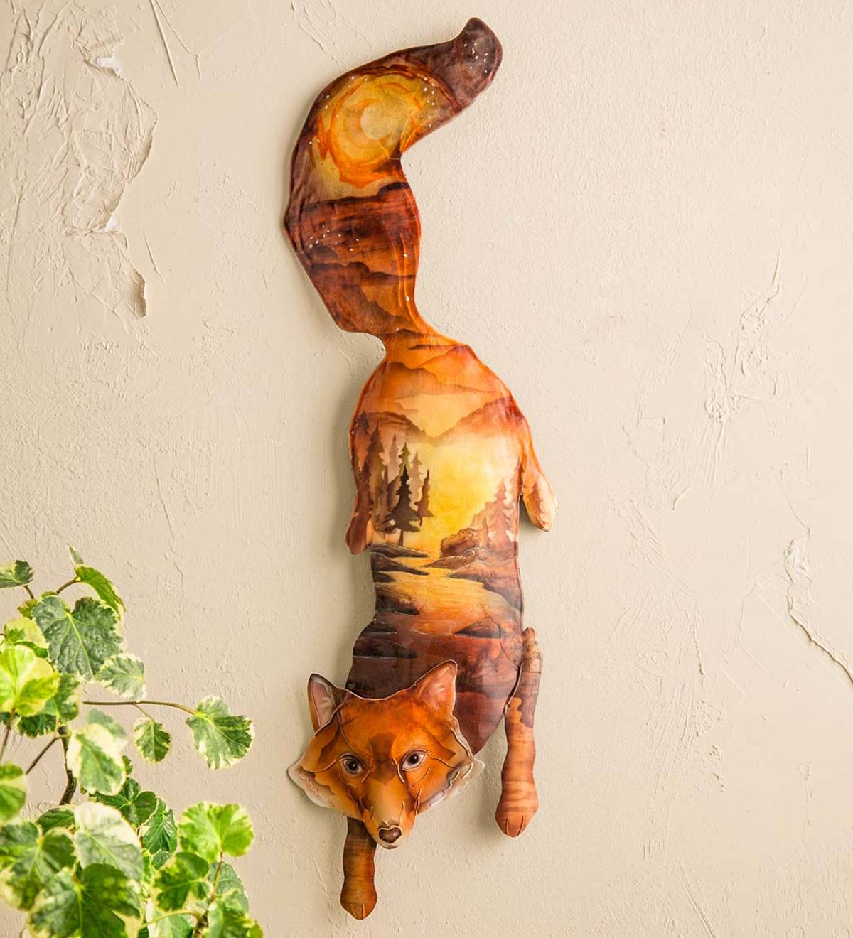 Metal and Capiz Painted Fox Wall Art
