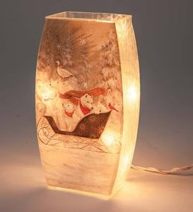 Animals in Sleigh Lighted Tabletop Art