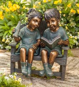 Children on Bench Sculpture