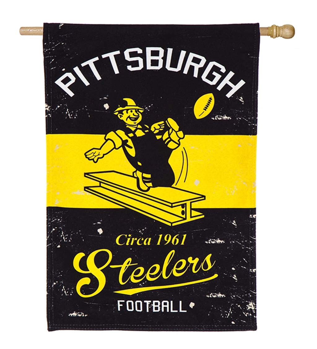 Double-Sided Vintage Graphic NFL Team Pride Linen House Flag