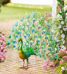 Colorful Metal Indoor/Outdoor Standing Peacock Sculpture
