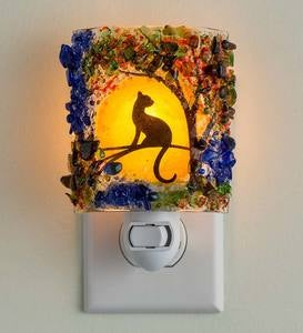 Handcrafted Glass Mosaic Cat Night Light