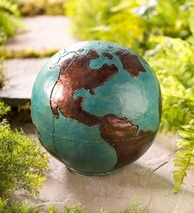 Handcrafted Lighted Metal Garden Globe