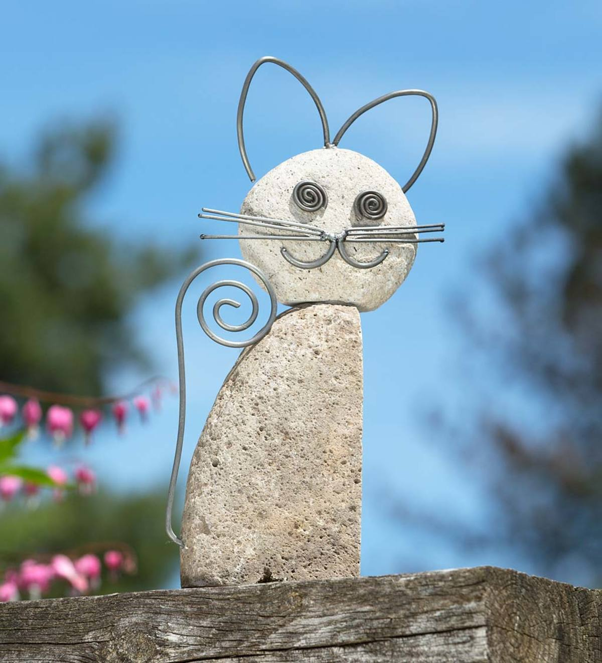 Handcrafted Natural River Stone and Metal Wire Cat Sculpture