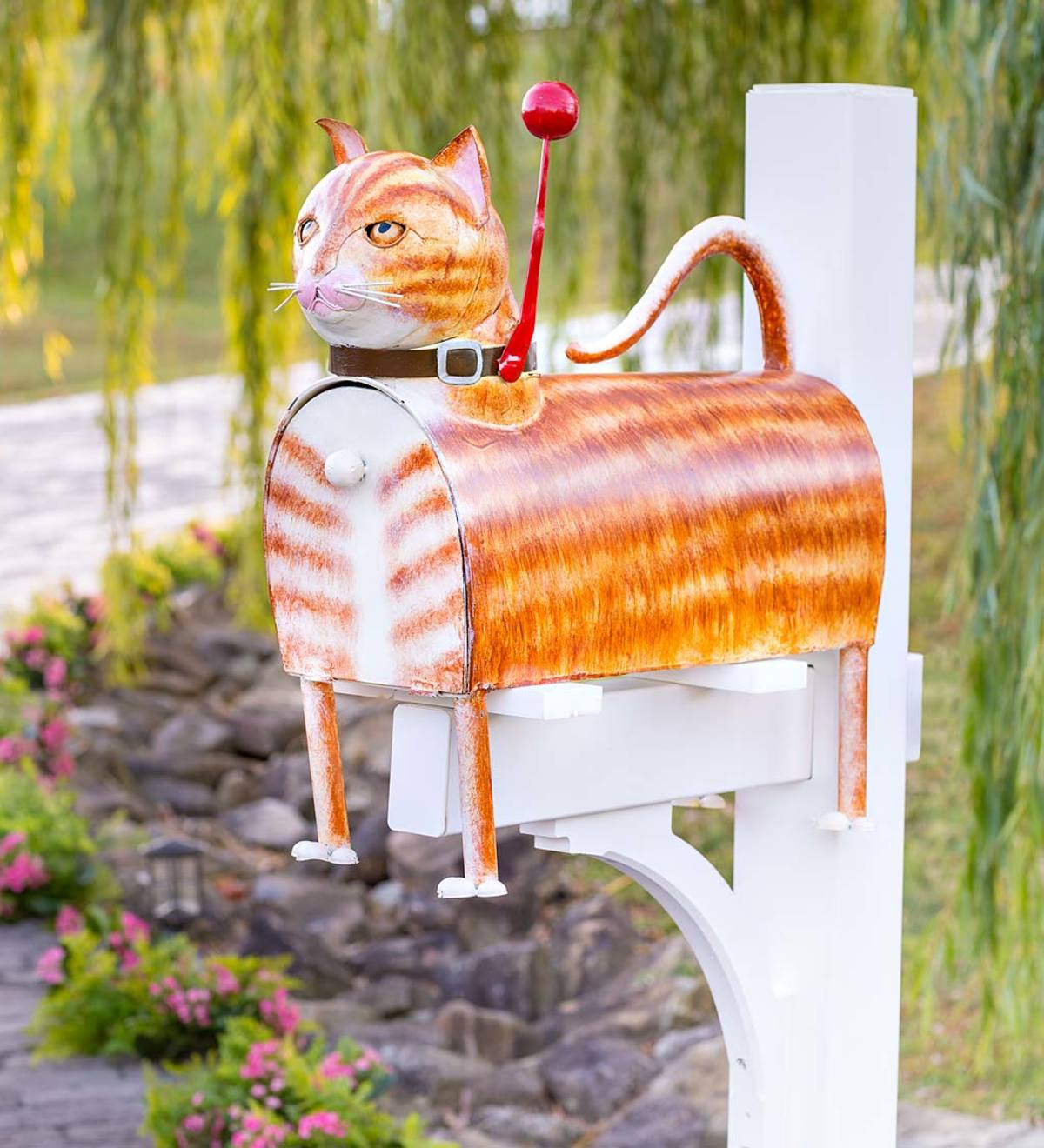 Handcrafted Reclaimed Metal Striped Ginger Cat Mailbox