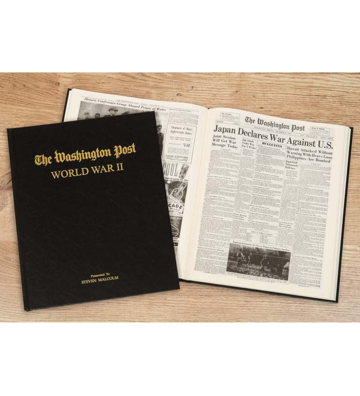 Personalized Washington Post WWII Headlines Newspaper Book - Black