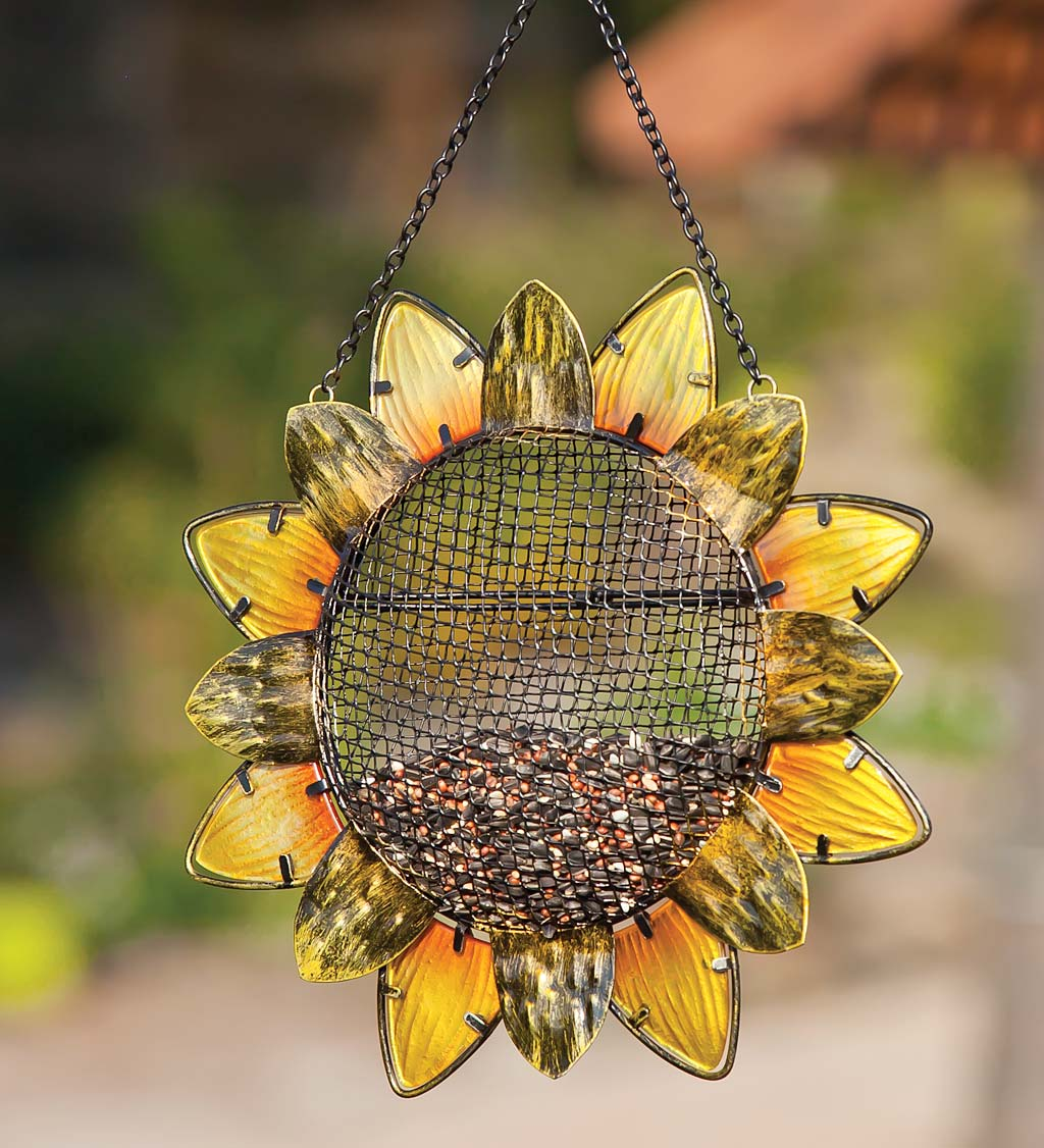 Glass Sunflower Hanging Mesh Bird Feeder