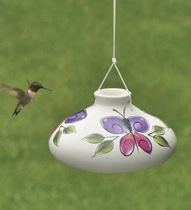 Hand Painted Ceramic Hummingbird Feeder - Butterfly
