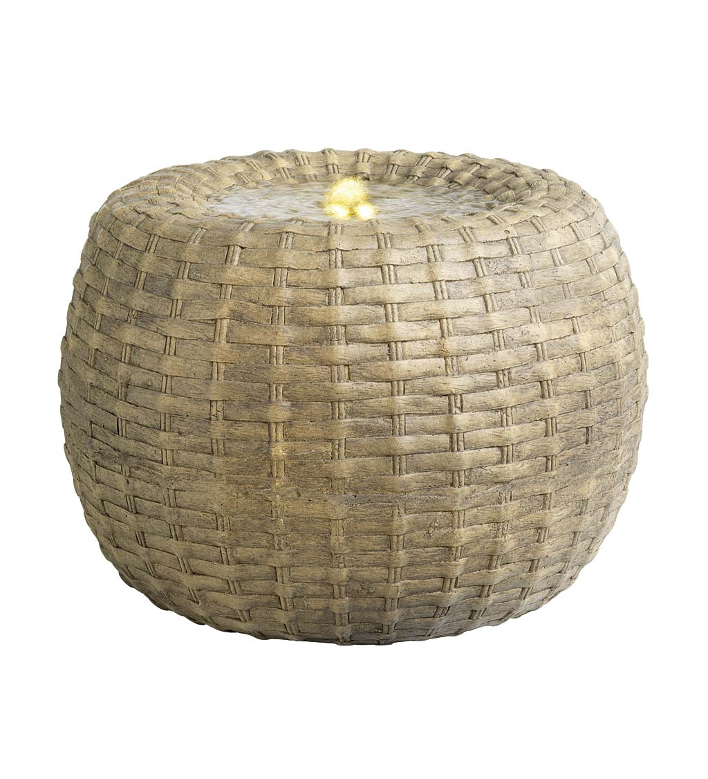 Indoor/Outdoor LED Lighted Wicker Basket Water Fountain swatch image