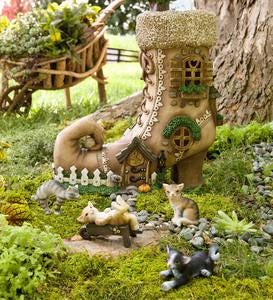 Lighted Shoe Fairy House with Four Cat Figurines Set