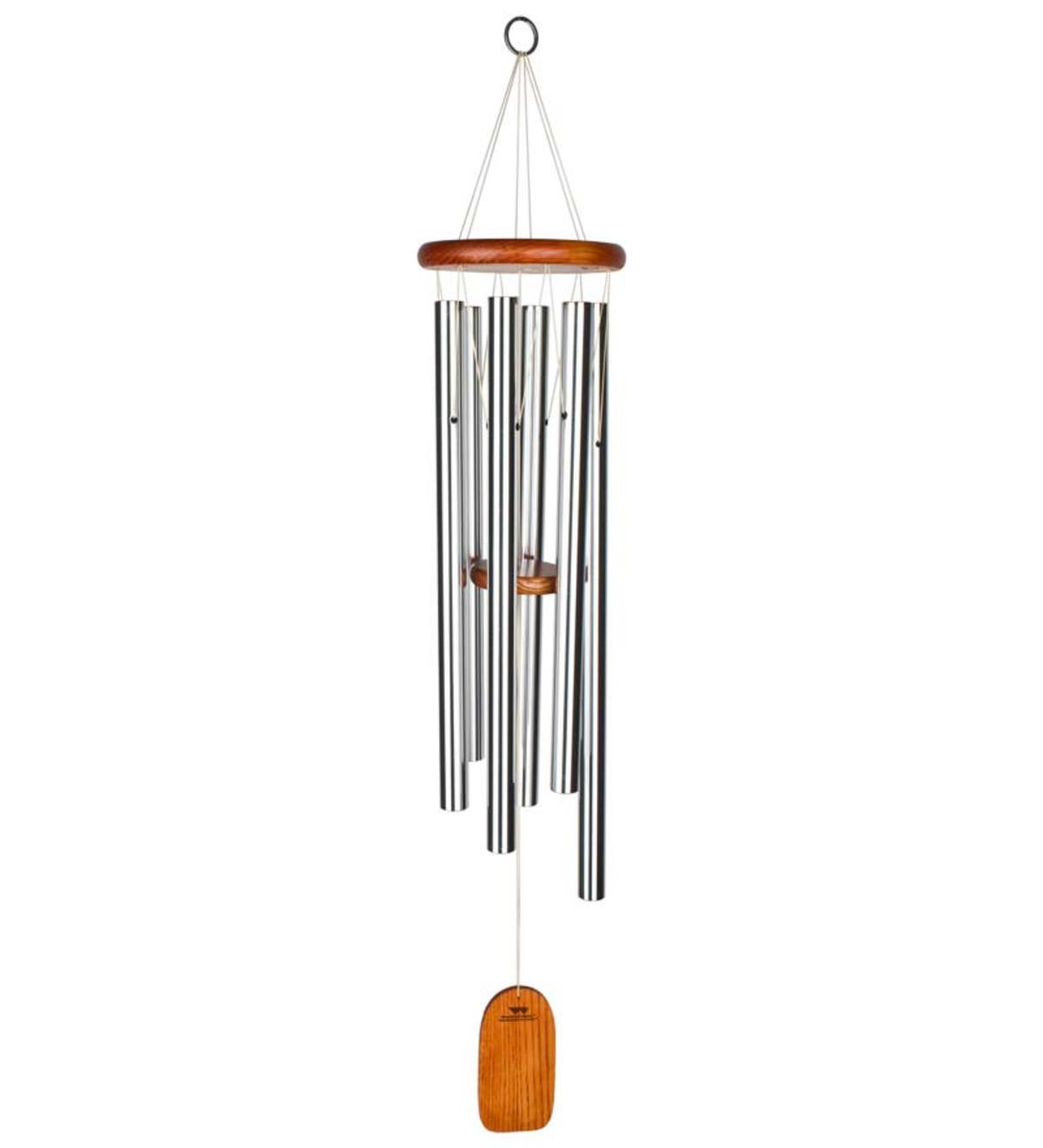 Large Musical Anodized Aluminum And Ash Amazing Grace Wind Chime With Ash Wood Disk And Wind Catcher